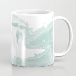 Moki - spilled ink japanese printmaking marble paper mint pastel watercolor painting abstract  Coffee Mug