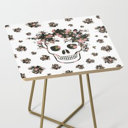 Flower Skull, Floral Skull, Pink Flowers on Human Skull Side Table