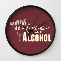 alcohol Wall Clocks featuring NOTES OF ALCOHOL by Sandhill