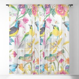 Birds Colourful Floral Motif Pattern Tropical decor Spring Flowers Sheer Curtain
