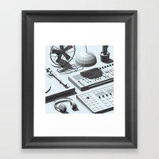 Low Poly Studio Objects 3D Illustration Grey Framed Art Print