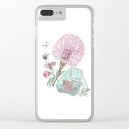 Fan and handbag in the style of Marie Antoinette Clear iPhone Case