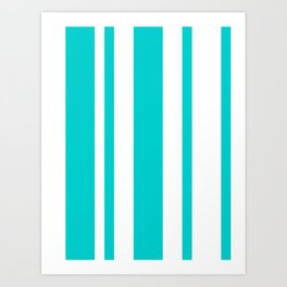 Mixed Vertical Stripes - White and Cyan Art Print
