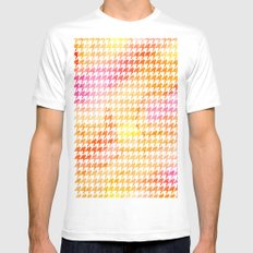 Houndstooth orange watercolor White Mens Fitted Tee MEDIUM