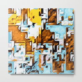 yellow brown and blue Metal Print