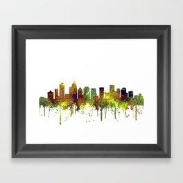 Charlotte NC Skyline SG Safari Buff Framed Art Print