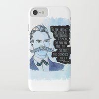 nietzsche iPhone & iPod Cases featuring Nietzsche and the Abstract Truth - Watercolor Version by Alexandra Ensign