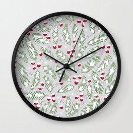 Winter Berries in Gray Wall Clock