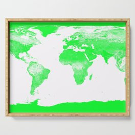 woRld Map Bright Green & White Serving Tray