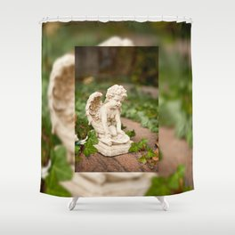 Small angel statue kneel Shower Curtain