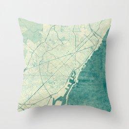 Barcelona Map Blue Vintage Throw Pillow