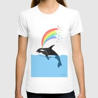 killer whale T-shirts featuring Killer Whale Blows Rainbow by Noel ILL