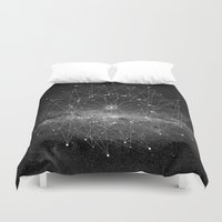 cosmos Duvet Covers featuring STARGAZING IS LIKE TIME TRAVEL by Amanda Mocci