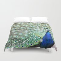 peacock Duvet Covers featuring Peacock by Kakel-photography