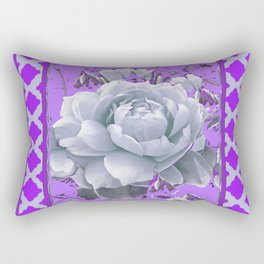 WHITE GARDEN  ROSE FLOWERS PANTENE PURPLE DECORATIVE ART Rectangular Pillow