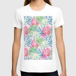 Pineapple & watercolor leaves T-shirt