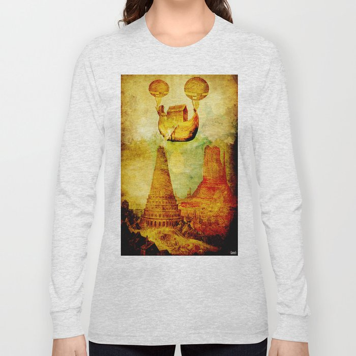 The Noah's Ark arrives on the tower of Babel Long Sleeve T-shirt