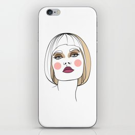 Blonde woman with makeup. Abstract face. Fashion illustration iPhone Skin