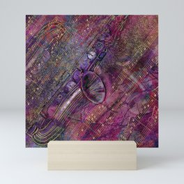 Saxophone Art Collage - mixed media Mini Art Print