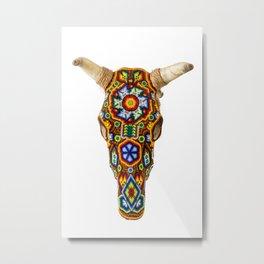 Huichol Bull Skull Metal Print
