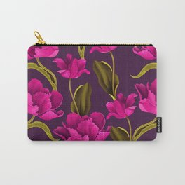 Bold & Bright Hot Pink Colored Parrot Tulip Flowers on Dark Background Carry-All Pouch