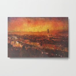 Palazzo and Ponte Vecchio in Florence, Italy at sunset.  Watercolor batik painting. Metal Print