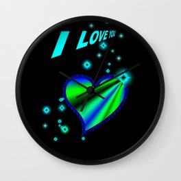 I LOVE YOU - green-blue Rainbowheart and Stars  Wall Clock