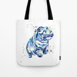 Hippo Colorful Watercolor Hippo Painting - Grace Tote Bag