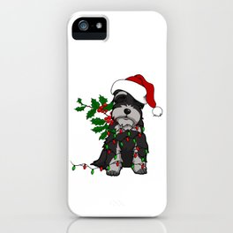 Black and White Christmas Schnauzer iPhone Case