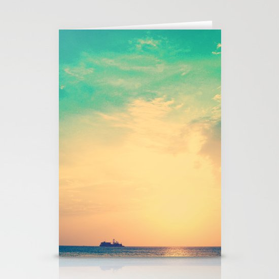 Ship in the beach on the sunset, and vintage turquoise sky Stationery Cards