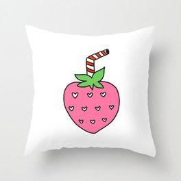Strawberry Milk Doodle Throw Pillow
