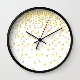 confetti triangles gold Wall Clock