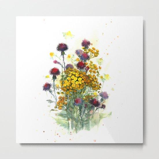 Watercolor wildflowers, aquarelle Metal Print