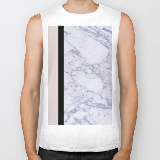 Modern minimalist blush marble Biker Tank