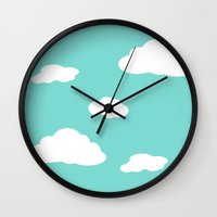 airplanes Wall Clocks featuring Paper Airplanes - You Can Fly - Cloud Variation - Caribbean by Sugar Spice and Nutmeg