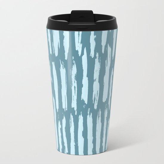 Vertical Dash Turquoise on Teal Blue Metal Travel Mug