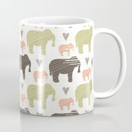 Brown Pink and Green Elephant Silhouette Seamless Coffee Mug