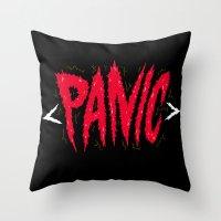 panic at the disco Throw Pillows featuring PANIC by Chris Piascik