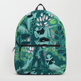 Reading girls among the plants with cats Backpack