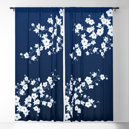 Navy Blue White Cherry Blossoms Blackout Curtain
