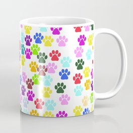 Dog Paws, Trails, Paw-prints - Red Blue Green Coffee Mug