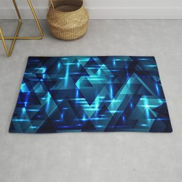 Ocean depths and blue intersections on a dark metal background. Rug