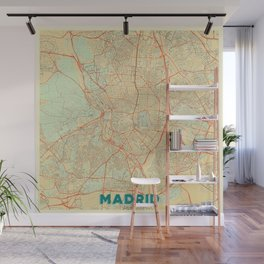 Madrid Map Retro Wall Mural