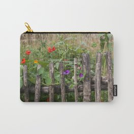 Old Fence and Flowers Summer Scenery Carry-All Pouch