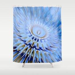 Blue 3D essence of a mandala Shower Curtain