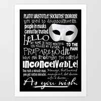 princess bride Art Prints featuring Princess Bride Quotes - Best Quotes from the Princess Bride Movie by Traci Hayner Vanover