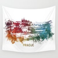 prague Wall Tapestries featuring Prague skyline by jbjart