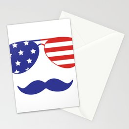 4th of July American Mustache and Sunglasses Fourth of July Stationery Cards
