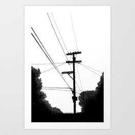 Power Lines at the bluff Art Print