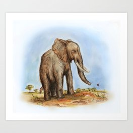The Majestic African Elephant Art Print